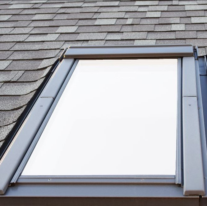 Privacy window film to reduce bird collisions on skylight