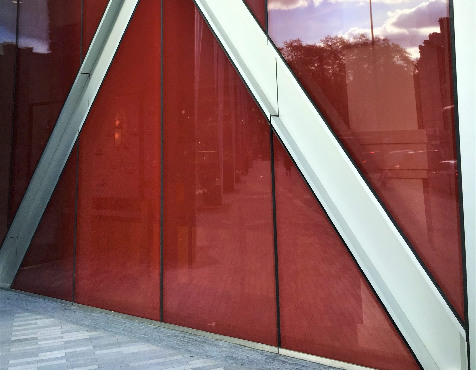 Nova Victoria red fritted glass facade