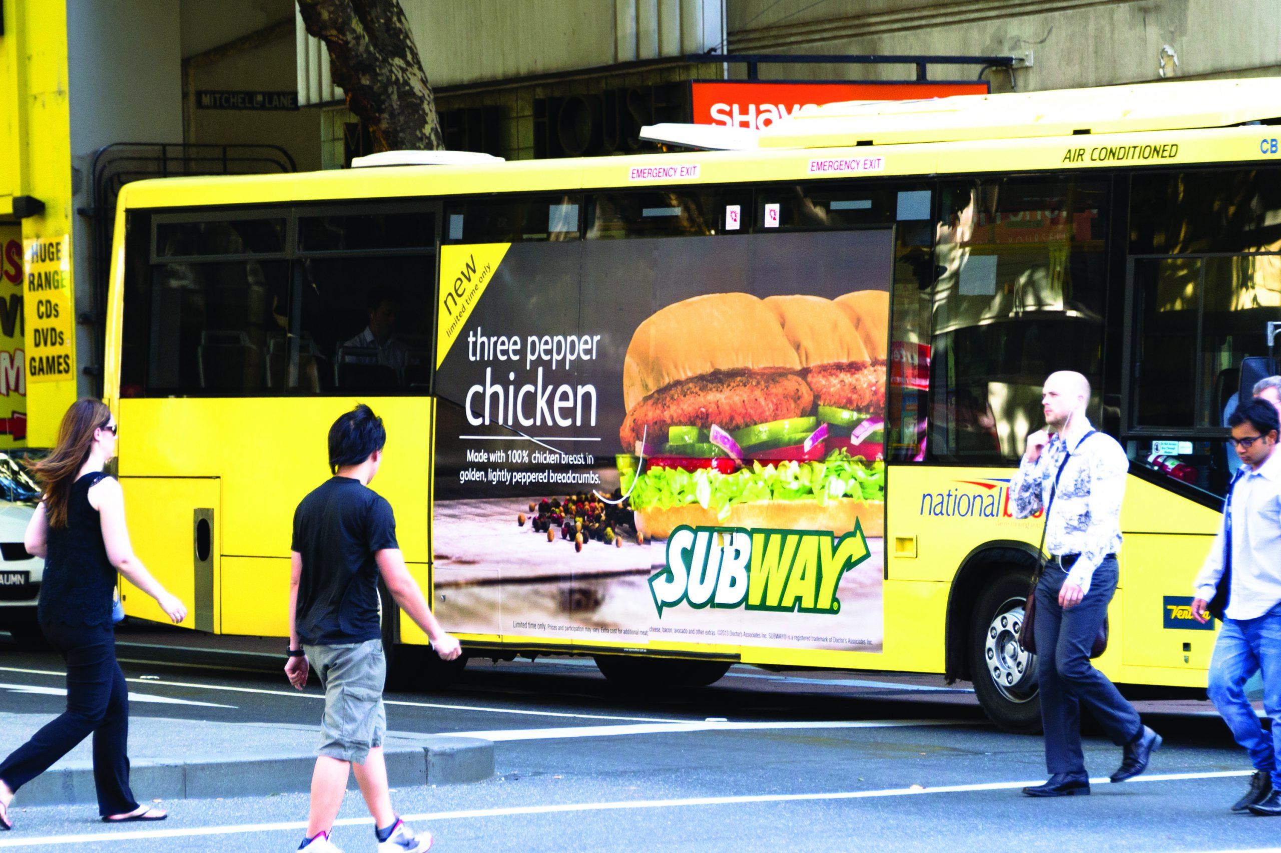 Subway Bus Window Advertisement Using Contra Vision